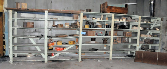 Lot-(5) Sections of Shelving with Hydraulic Hoses, SQUARE D
