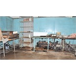 Lot-(2) Sections of Shelving and (2) Work Benches with Chain Link,