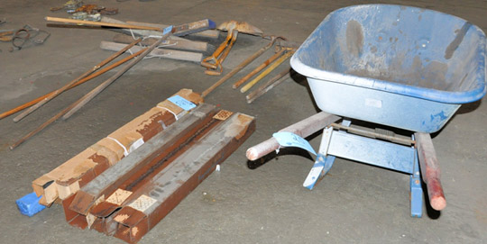 Lot-Wheel Barrow with Clean-Up Tools and Axe Handles