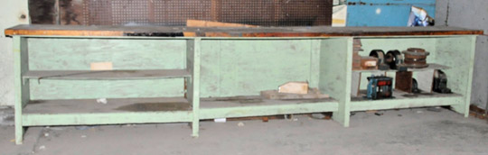 """24""""L X 170""""W Hardwood Top Bench with Cable Guide, Carrier"""