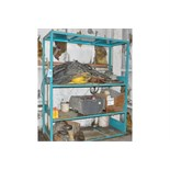 Lot-(1) Section of Shelving, Table and (2) Stands with Wire, Motors,