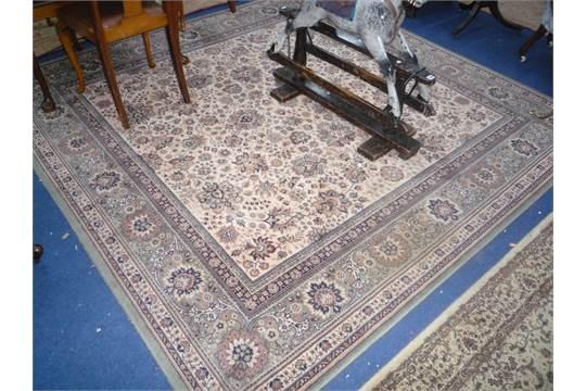 Cream Ground Fl Design Wool Carpet