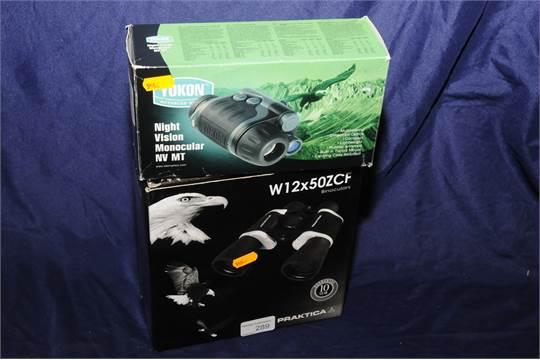 Boxed pair of w zcf praktica binoculars and boxed yukon night