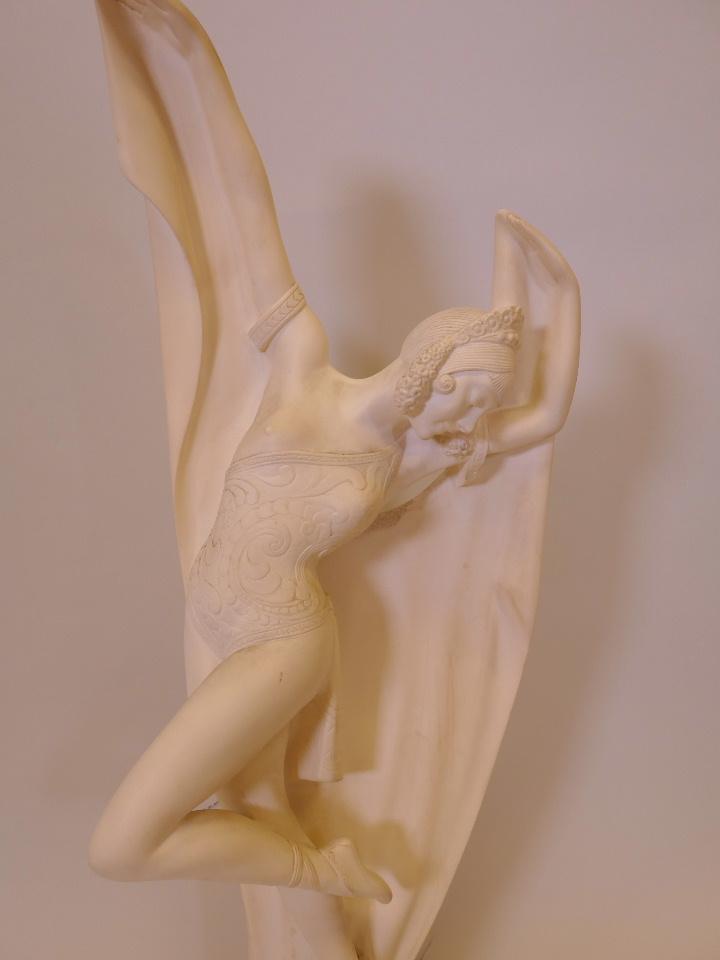 """Lot 59 - An Art Deco style plaster figure of a dancer, 27½"""" high"""