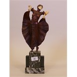 A contemporary Art Deco style figure after Chiparus 'The Butterfly Dance', mounted on a marble base,