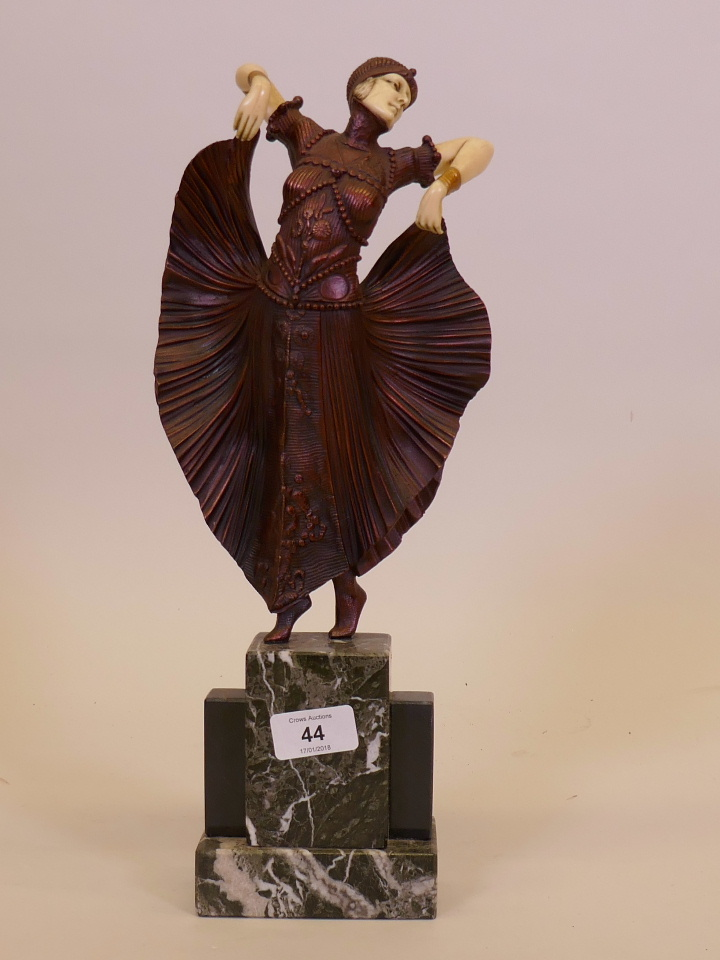 Lot 44 - A contemporary Art Deco style figure after Chiparus 'The Butterfly Dance', mounted on a marble base,