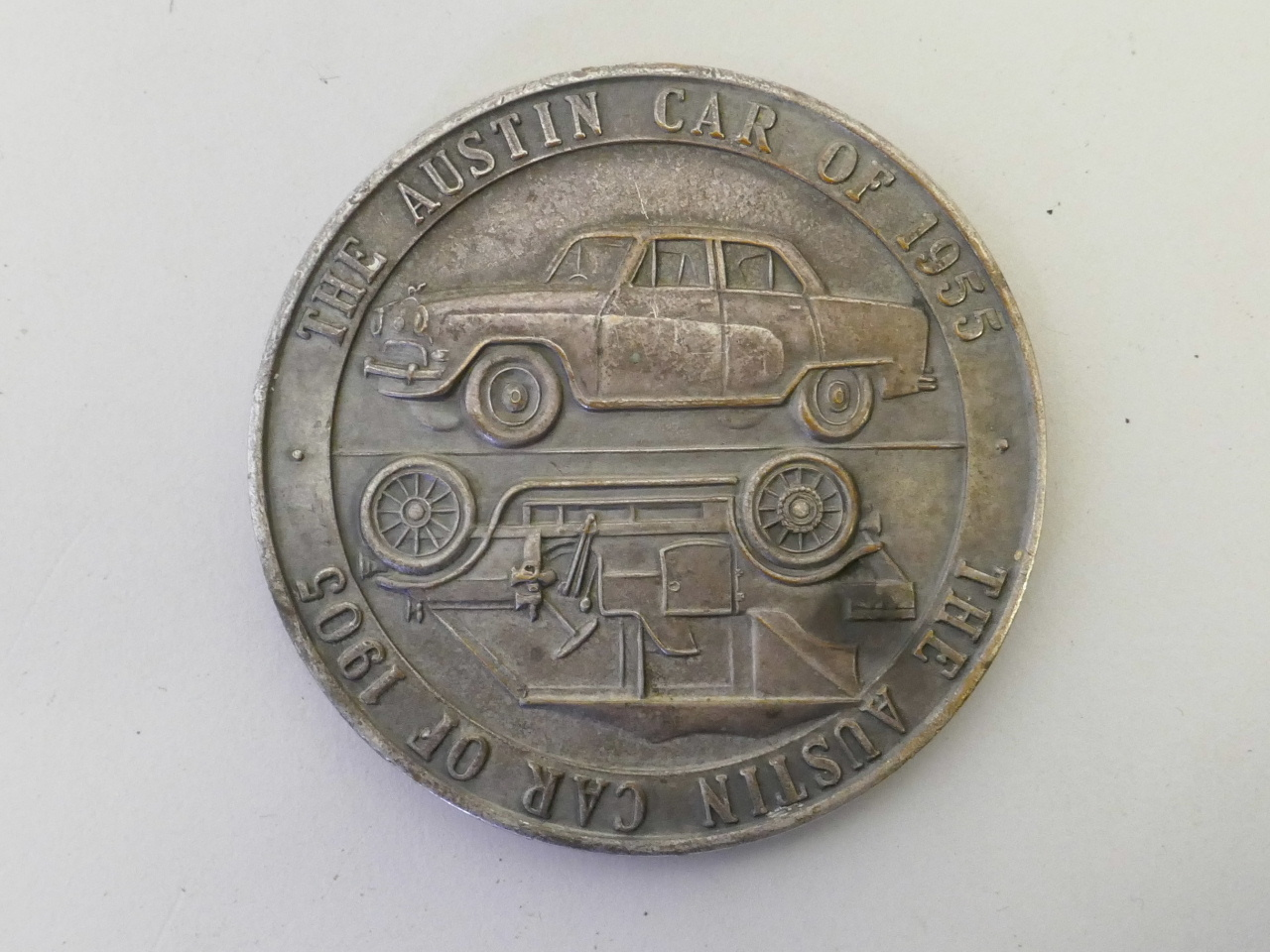 "Lot 35 - A commemorative medal celebrating the golden jubilee of the Austin motor car, 1905-1955, 2½"""