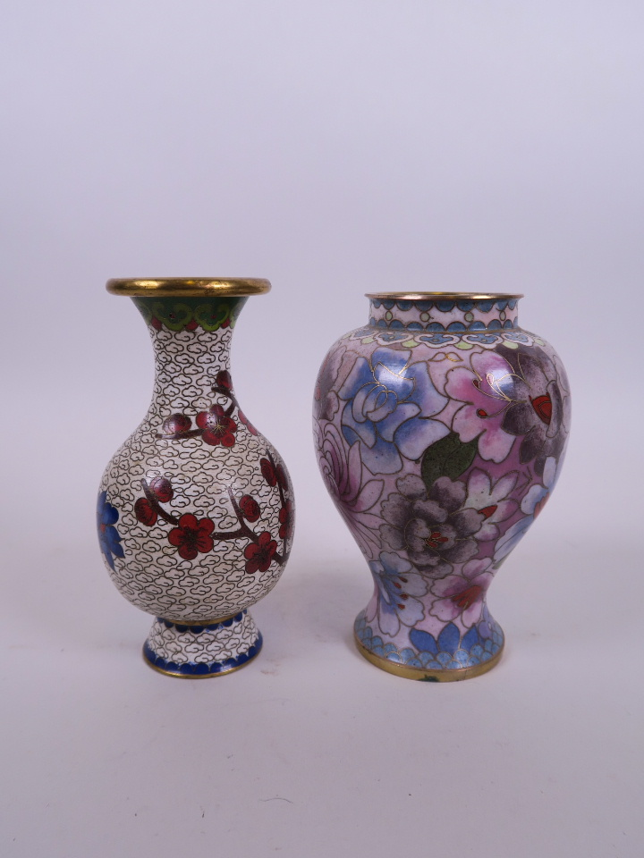 "Lot 4 - An Oriental cloisonné vase with peony decoration, together with another, 5"" high"