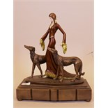 "A contemporary Art Deco style figure after O. Poertzal, 'The Aristocrats', 16"" high"