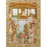 PADSHAHNAMA OF EMPEROR JAHANGIR PRESENTING PRINCE KHURRAM A FAMILY JEWEL, MUGHAL, 19TH CENTURY