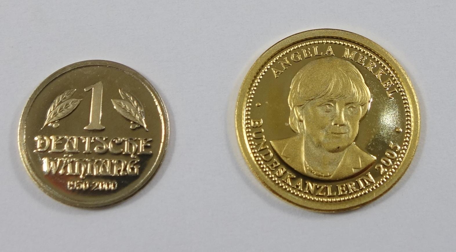 """2 Miniatur-Goldmünzen, Gold; """"50.Jahrestag Deutsche Münze 1950-2000"""", 2000, 585er Gold, Gew.0,5g,"""