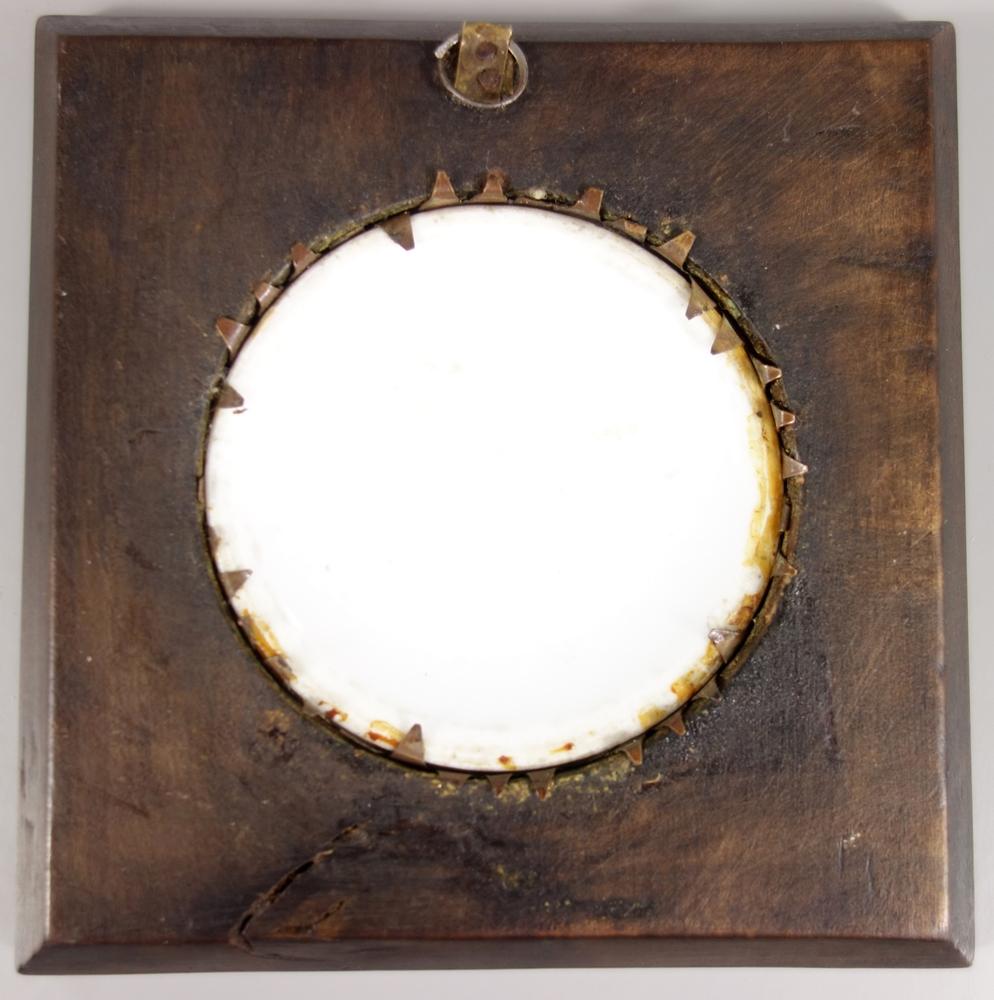 """Miniaturmalerei """"Frauenakt im Glas"""", 19.Jh., D.6,6cm, im Holzrahmen, 11,5*11,3cm, rundes, - Bild 3 aus 3"""