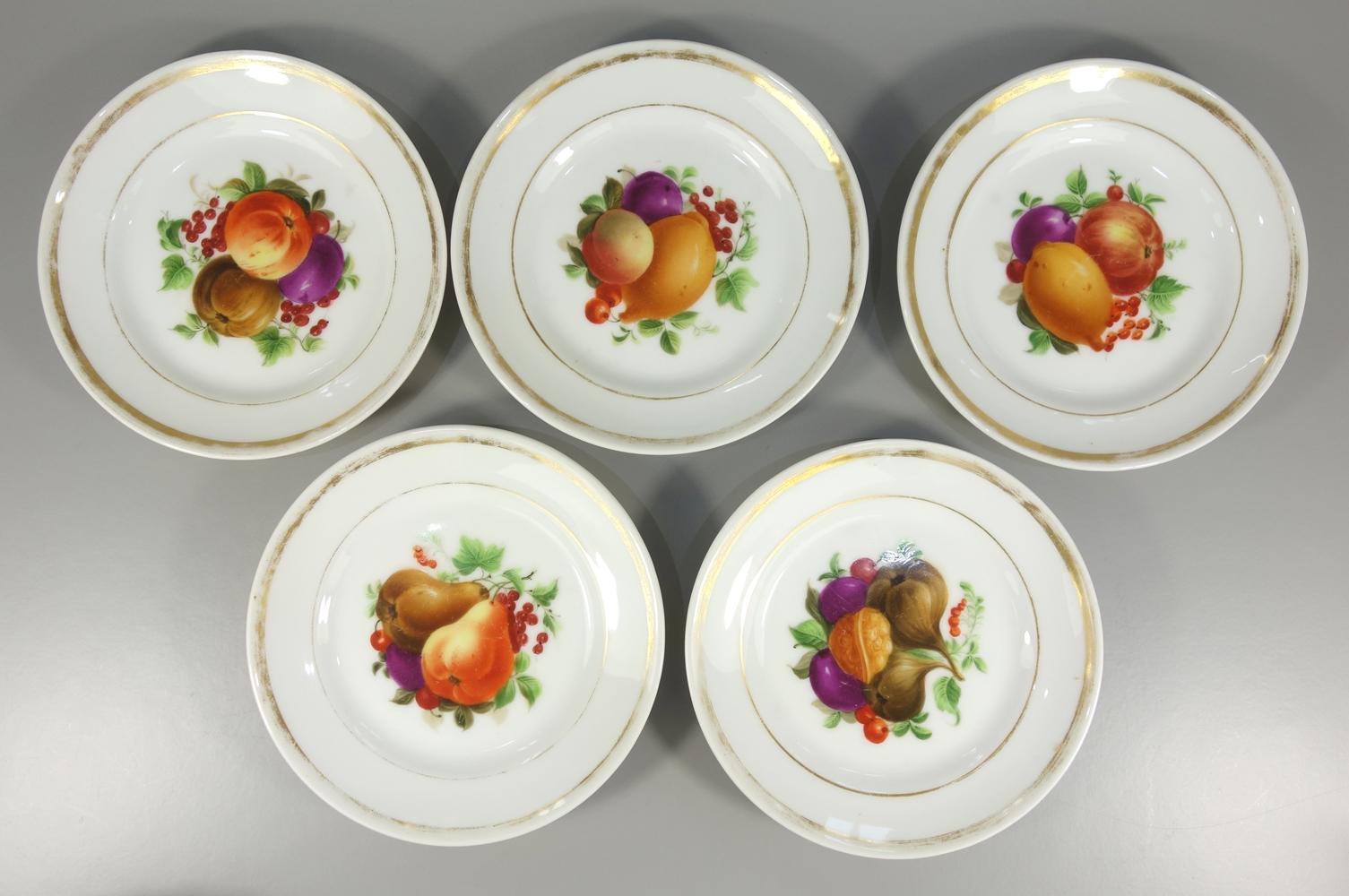5 Teller mit Obstdekor, 2.Hälfte 19.Jh., D.16cm, Gebrauchsspuren, ohne Herstellermarke, Handmalerei,