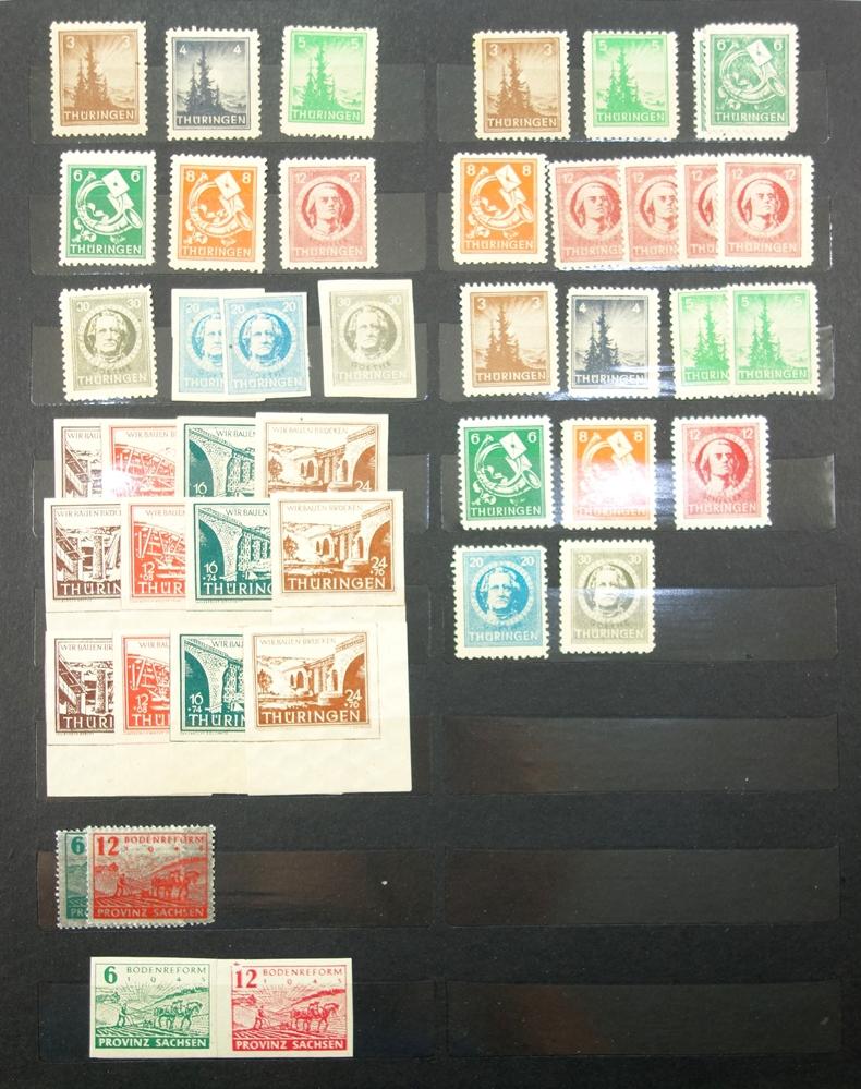 Briefmarken, Besatzungzonen 1945-1949, unvollständig, teils gestempelt, teils postfrischPostage - Bild 2 aus 4