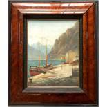 """M. Adam, """"Fischerboot am Hafen"""", Öl/Holz, Anfang 20. Jahrhundert; unten rechts signiert, HB 38*30cm,"""