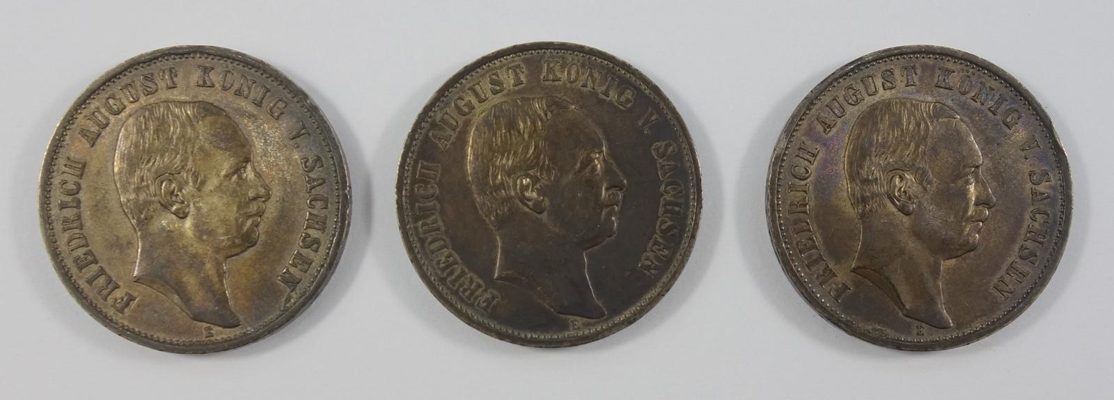 3* 3 Mark, August, König von Sachsen, 1910-1912, E, Ag, Gesamt-Gew.ca.49,5g, ss-s3 *
