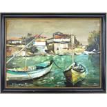 """A.Stanish, """"Mediterraner Hafen"""", Öl/Hf., 1991, unten links signiert/datiert, HB 29*39,5cm; in"""