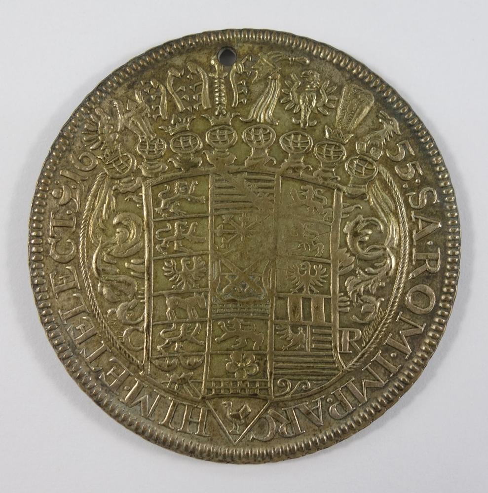 Taler 1655 CM Sachsen-Albertinische Linie Johann Georg I. 1615-1656, D.45mm, obere Bohrung, sonst - Bild 2 aus 2