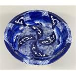 Schüssel mit unterglasurblauem Dekor, China, um 1900, Porzellan, gerippte Wandung, Standring,