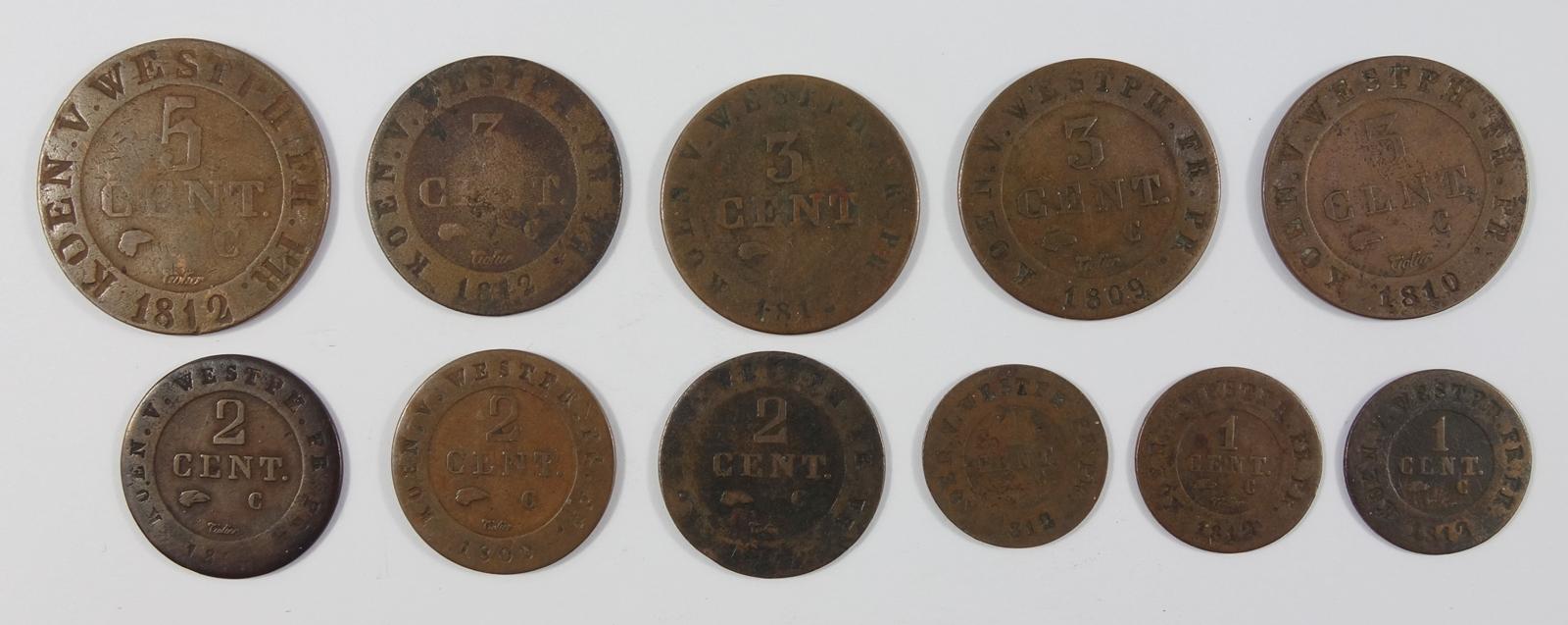 11 Cent-Stücke, Westfalen, Hieronymus Napoleon: 3*1 Cent 1812; 3* 2 Cent 1809 (2*unlesbar), 4* 3