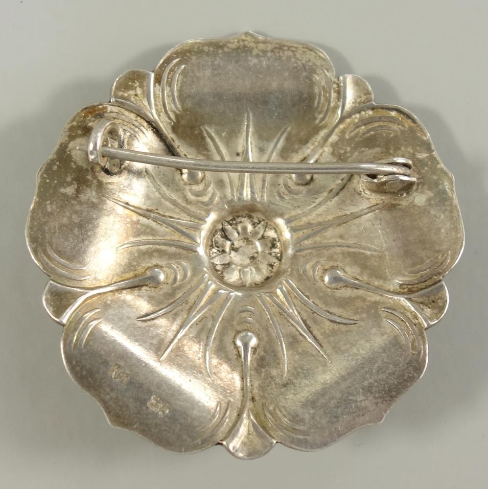"""Blütenbrosche, 835er Silber, Karl Hohmann, Pforzheim, 1920/30er Jahre, Gew.10,02g, Punze: """"KH"""" - Bild 2 aus 2"""