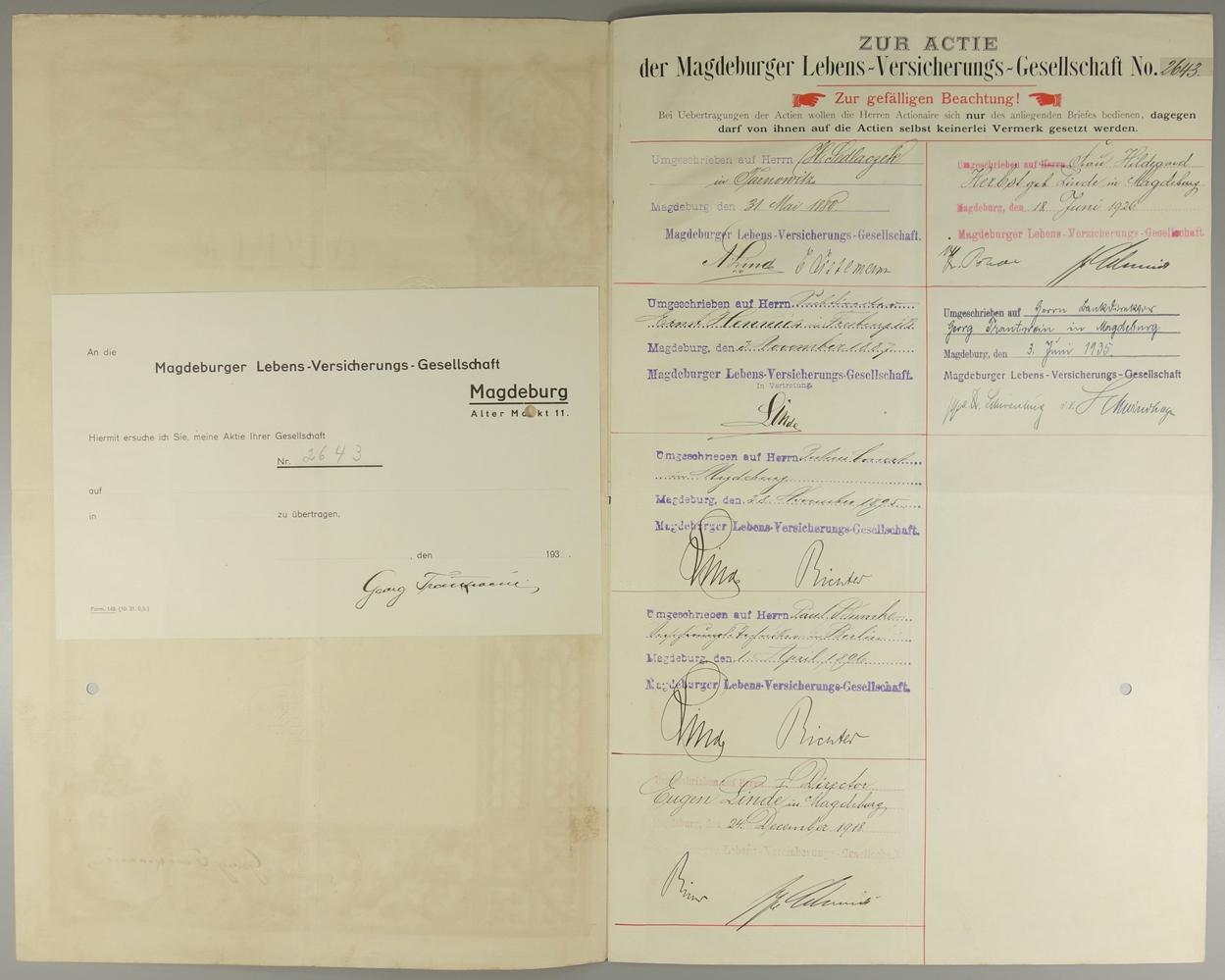 """Aktie """"Magdeburger Lebensversicherungs-Gesellschaft"""", 10.März 1856, Gründeraktie über 500 Thaler - Bild 2 aus 2"""