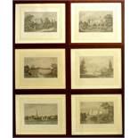 10 Architektonische Ansichten, 19. Jahrhundert, Stahlstiche, diverse Künstler, darunter Burgen und