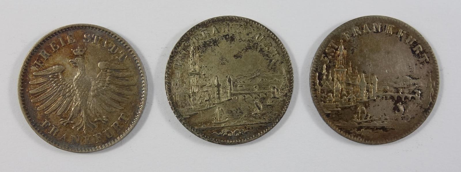 3 * 6 Kreuzer Freie Stadt Frankfurt, 1842, 1852 und 1856, ss3 * 6 Kreuzer Frankfurt, 1842, 1852
