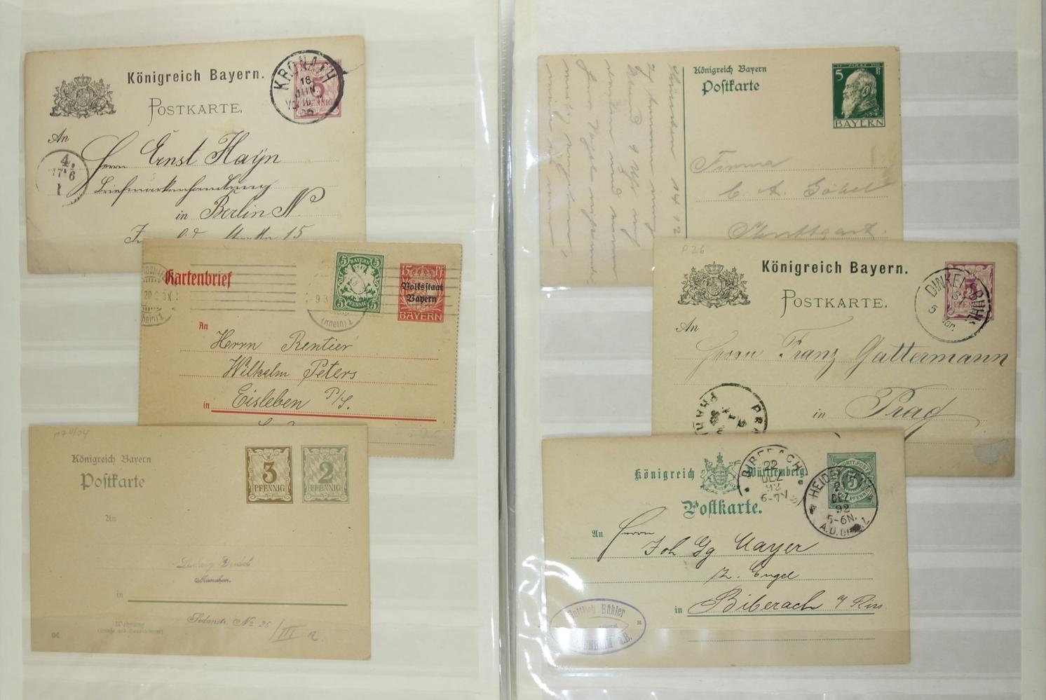 90 Ganzsachen, Deutschland, um 1880 bis ca.1989; u.a. 5* Königreich Bayern, 1* Königreich
