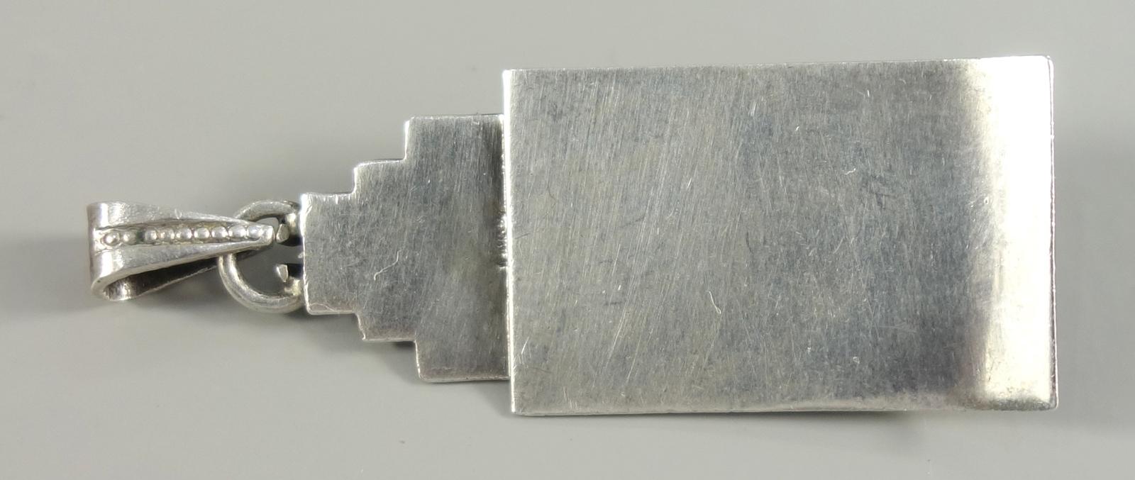 Anhänger mit Korallen-Cabochon, 935er Silber, Art Déco, Gew.4,38g, lachsrote Koralle, Anhänger, tlw. - Bild 2 aus 2
