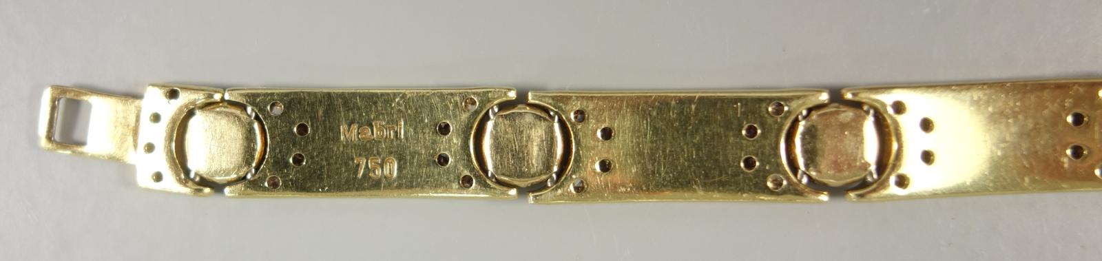 """Brillant-Armband, Hersteller """"Mabri"""", 750er Gold, Gew.26,08g, total ca.1,30ct, 10 Brillanten á ca. - Bild 3 aus 3"""
