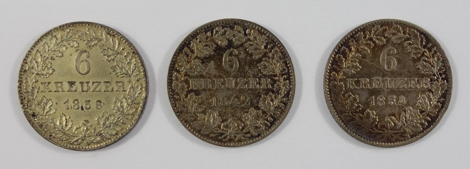 3 * 6 Kreuzer Freie Stadt Frankfurt, 1842, 1852 und 1856, ss3 * 6 Kreuzer Frankfurt, 1842, 1852 - Bild 2 aus 2