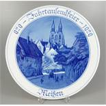 """Wandteller """"929 Jahrtausendfeier 1929 Meißen"""", Meissen, 1.Wahl, Pfeifferzeit, D.25cm, Blaumalerei,"""