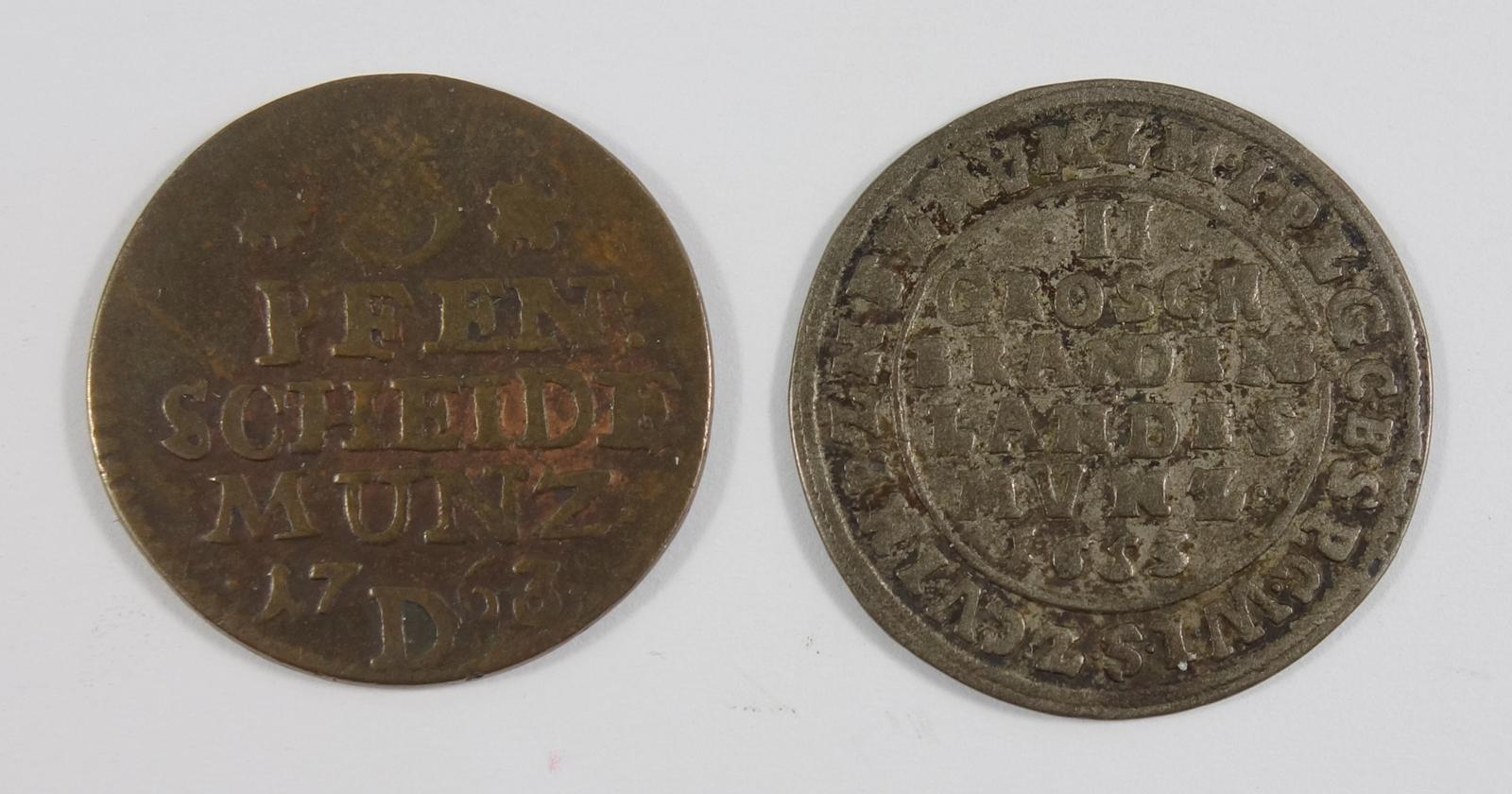3 Pfennige 1763 und 2 Groschen 1653, König Friedrich, Brandenburg Preussen, s3 pfennig, 1763 and 2 - Bild 2 aus 2