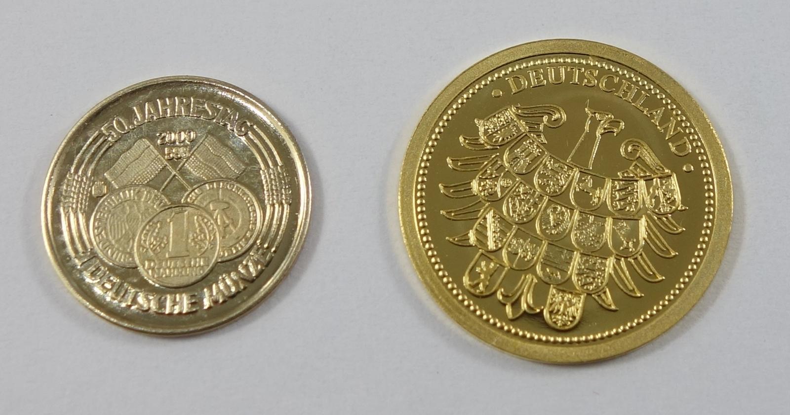 """2 Miniatur-Goldmünzen, Gold; """"50.Jahrestag Deutsche Münze 1950-2000"""", 2000, 585er Gold, Gew.0,5g, - Bild 2 aus 2"""