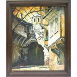 "A.Stanish, ""Torbogen"", Öl/Leinwand, 1992, unten links signiert/datiert, HB 55*45cm; in dunklem"