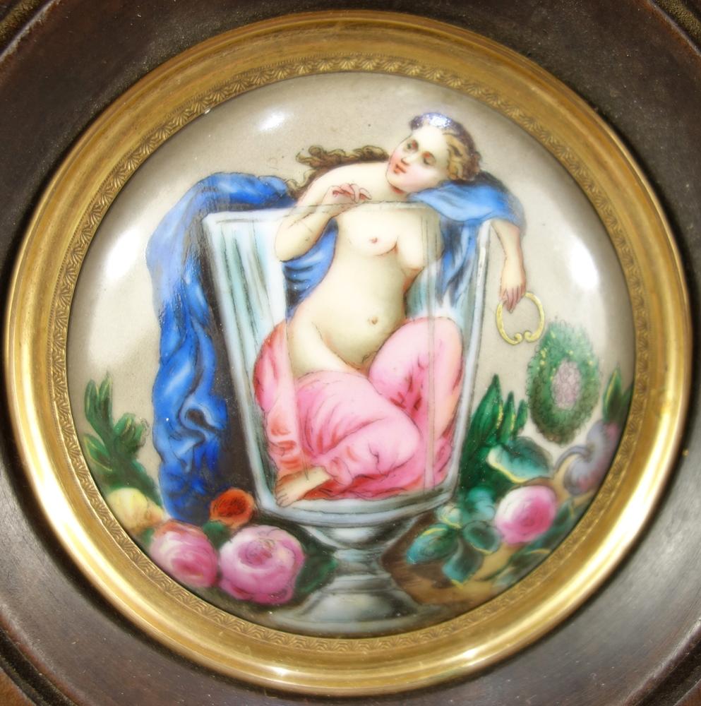 """Miniaturmalerei """"Frauenakt im Glas"""", 19.Jh., D.6,6cm, im Holzrahmen, 11,5*11,3cm, rundes, - Bild 2 aus 3"""