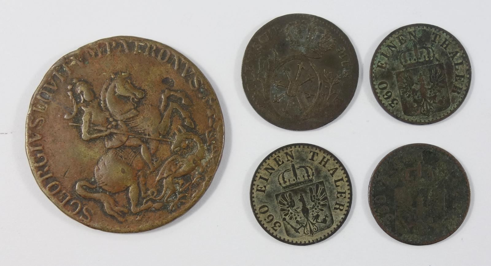 4 div. Kleinmünzen und AE-Medaille, Kremnitz: 2 Stüber 1756 C, Friedrich II., Preussen; 3* 1 Pfennig