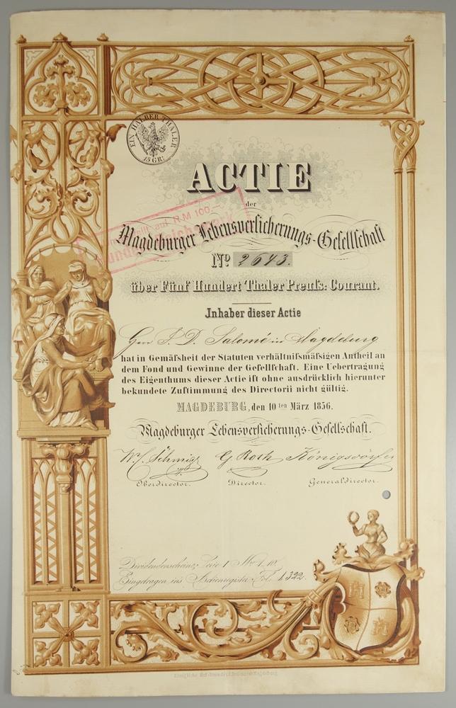 """Aktie """"Magdeburger Lebensversicherungs-Gesellschaft"""", 10.März 1856, Gründeraktie über 500 Thaler"""
