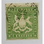 6 Kreuzer Württemberg, Michel 13a, Kat.-Wert 140 €, gestempelt, BPP geprüft6 Kreuzer Württemberg,