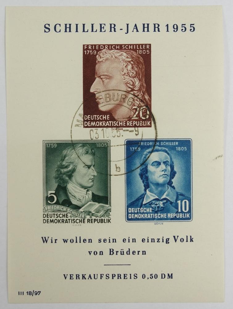 DDR, Schillerblock mit PF, BL 12 IX, Kat.-Wert 450 €, gestempeltGDR, Schillerblock with PF, BL 12