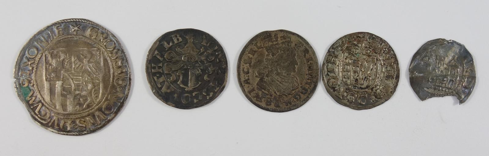 Konvolut 5 silberne Kleinmünzen, 18.Jh., u.a. Engelsgroschen (Schreckenberger) o.J., Friedrich III.,
