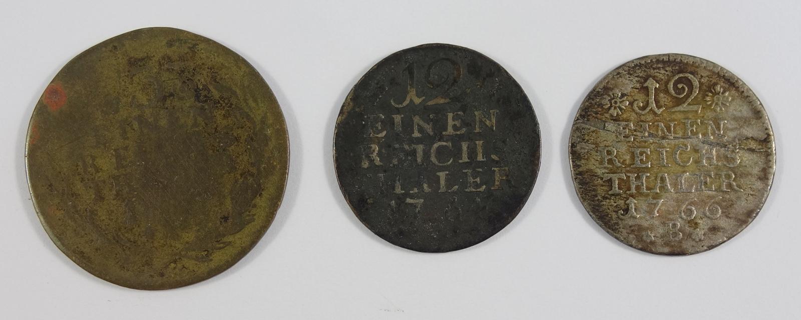 2 * 1/12 Taler, Brandenburg Preussen, Friedrich II., und 3 Pfennige; 1* 1/12 Reichsthaler 1764; 1* - Bild 2 aus 2