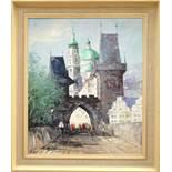 """Manfred Feiler (*1925, Plauen - 2020, ebd.), """"Karlsbrücke in Prag"""", 1960/70er Jahre, Öl/Lw., unten"""