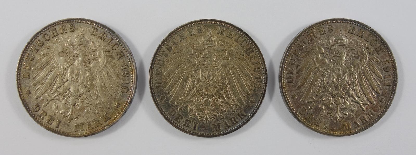 3* 3 Mark, August, König von Sachsen, 1910-1912, E, Ag, Gesamt-Gew.ca.49,5g, ss-s3 * - Bild 2 aus 2