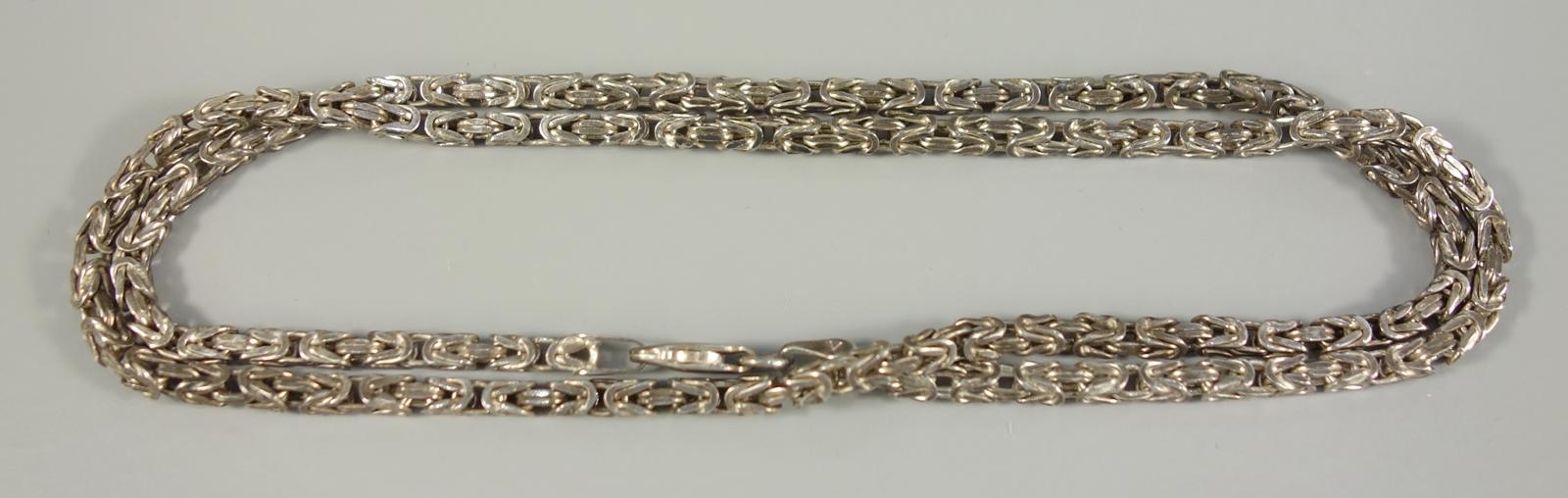 Königskette, 925er Silber, Gew.17,10g, L.49cm, D.ca.3mmByzantine chain, 925 silver, weight 17.10