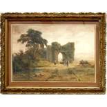 """Rudolf Müller (1802, Basel-1885, Rom), """"Abendstimmung in der Campagna"""", Mitte 19. Jahrhundert,"""