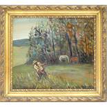 "Dimitar Dimitrov (bulgarischer Künstler), ""Feldarbeiter"", Öl/Lw./Hartfaser, 1991, unten rechts"