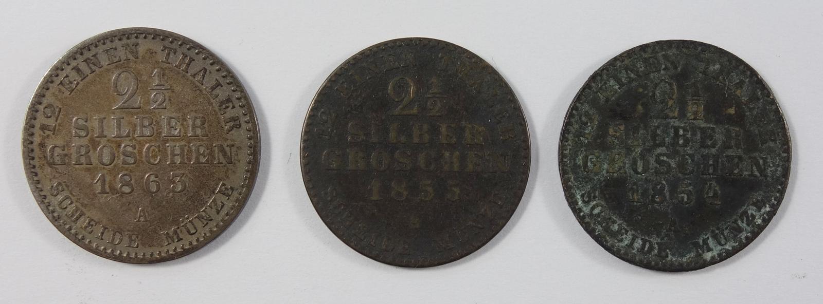 3* 2 1/2 Silbergroschen, Preussen: Wilhelm IV, 1855 A; Wilhelm I, 1863 A; Friedrich Wilhelm IV, 1854 - Bild 2 aus 2
