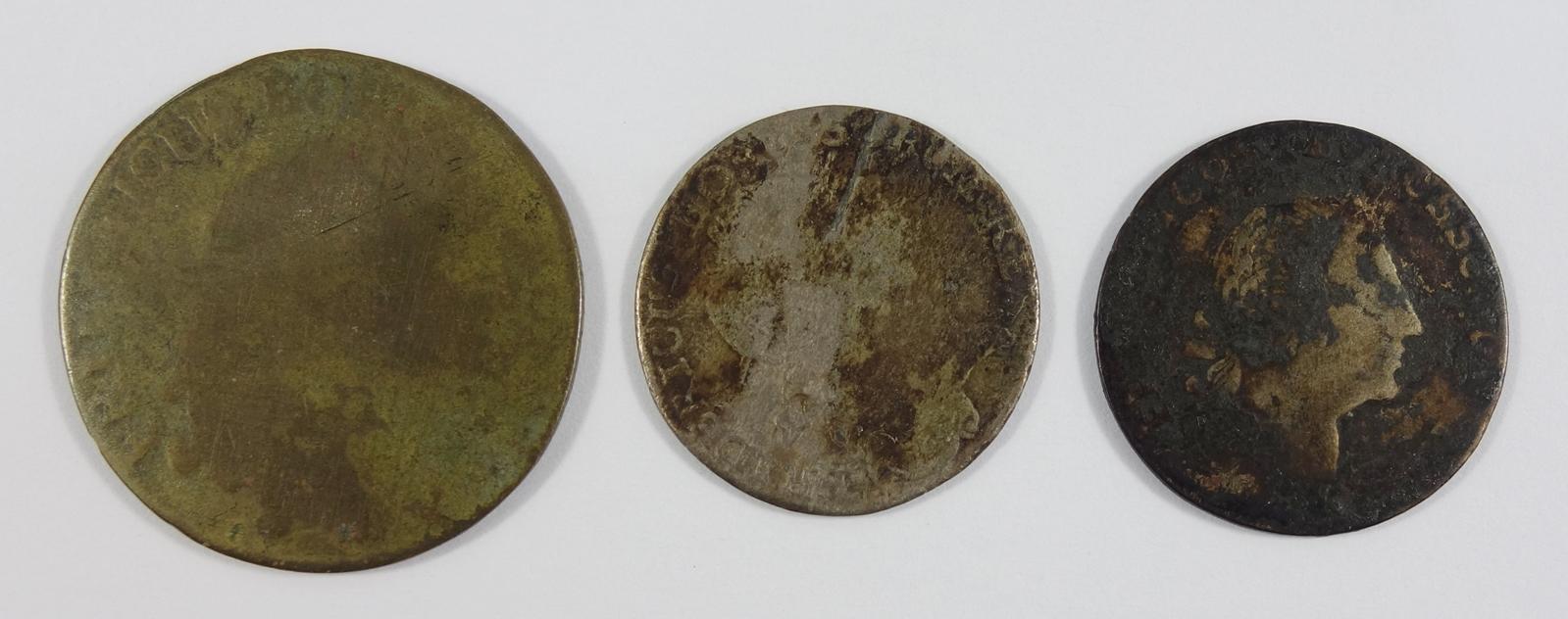 2 * 1/12 Taler, Brandenburg Preussen, Friedrich II., und 3 Pfennige; 1* 1/12 Reichsthaler 1764; 1*